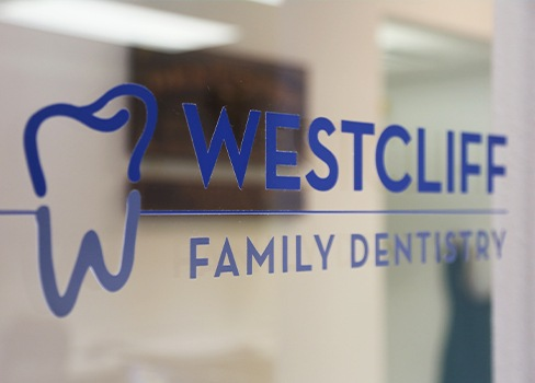 Westcliff Family Dentistry sign on entry door